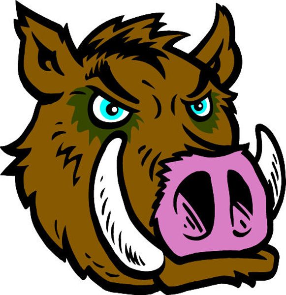 Razorback  Head mascot sports decal. Show team spirit!