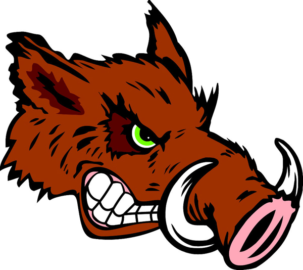 Razorback head team mascot color vinyl sports decal. Personalize on line.
