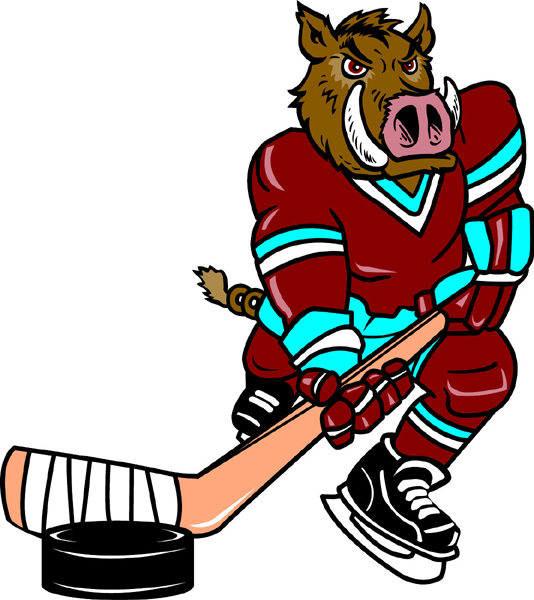 Razorback Hockey mascot sports decal. Display team spirit!