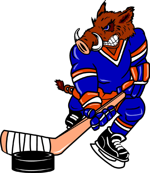 Razorback hockey player team mascot color vinyl sports sticker. Customize on line. Razorback Hockey 2