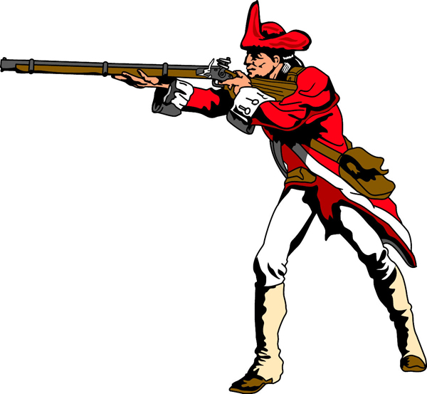 Red Coat team mascot full color vinyl sports sticker. Customize on line. Red Coat 1
