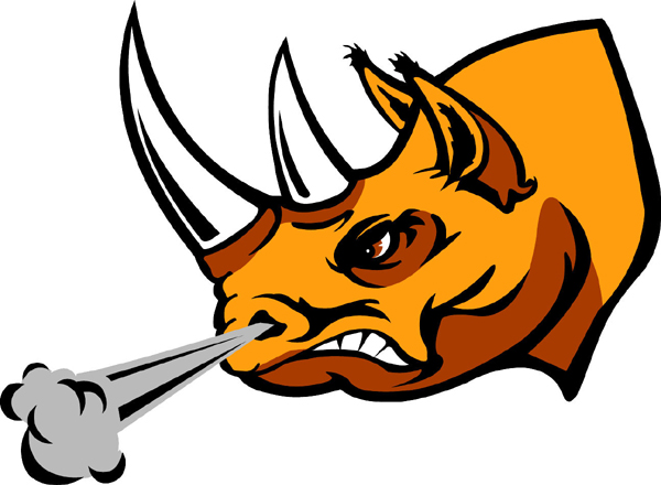 Rhino 3 team mascot sports decal. Make it yours!