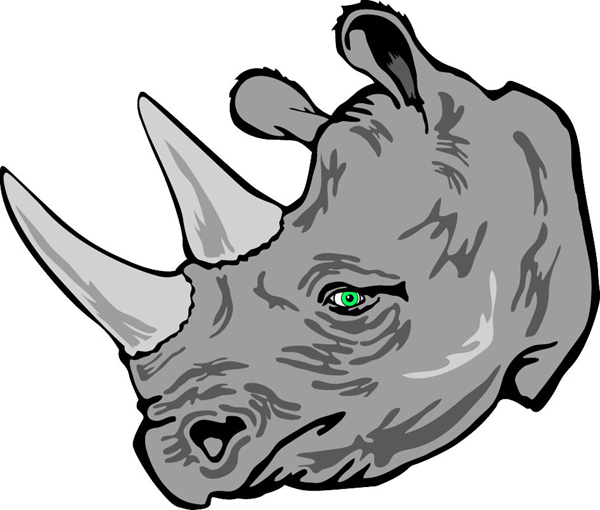 Rhino mascot vinyl sports decal. Personalize on line. Rhino Head 1
