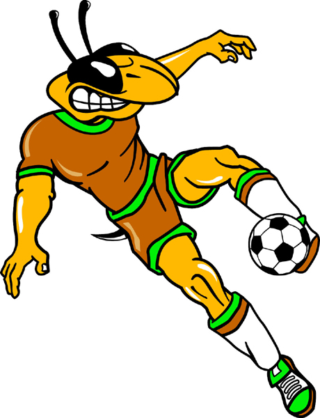 Yellow Jacket Soccer mascot sports sticker. Display your team spirit!