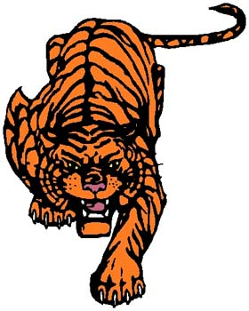 Tiger mascot sports sticker. Customize on line. 2a15 - tiger full body mascot decal