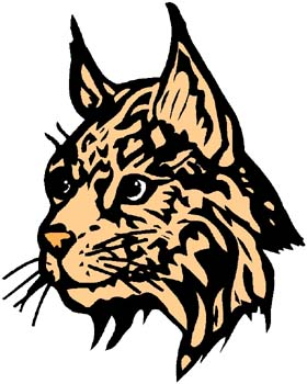 Bobcat mascot color sports decal. Personalize on line. 2a3- bobcat sticker decal