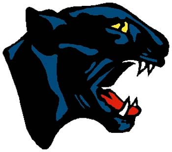 Panther mascot sports decal. Personalize on line. 2a7- cougar mascot decal