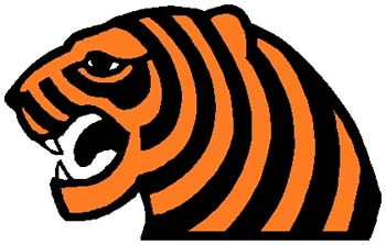 Tiger mascot color sports decal. Customize on line. 2b14 tiger