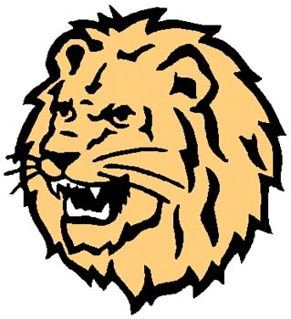 Roaring Lion mascot color sports decal. Personalize on line. 2b18 lion tiger