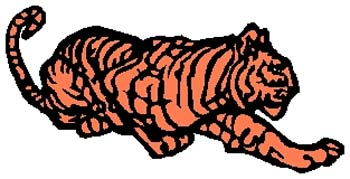 Tiger mascot sports decal. Personalize on line. 2b5 tiger decal