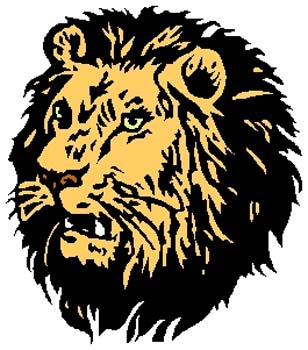 Lion mascot color action sports decal. Personalize as you order. 2b8 lion tiger decal