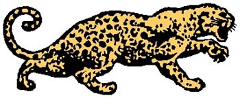 Leopard mascot color sports decal. Customize as you order. 2c1- lion tiger decal