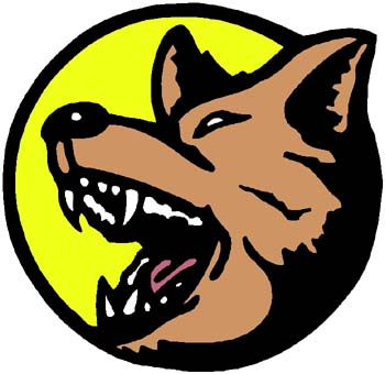 Howling wolf mascot action sports decal. Personalize on line. 2c17 wolf howling at moon decal