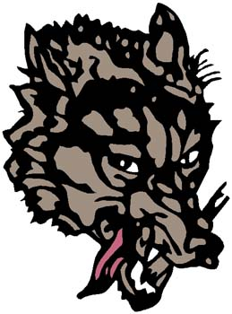 Wolves mascot sports decal. Personalize on line. 2c7 wolf head mascot