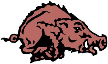 Razorback mascot action sports decal.  Personalize on line. 2c9 razorback decal