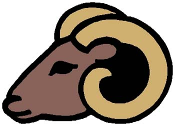 Ram mascot color sports decal. Personalize as you order. 2e12 ram head decal