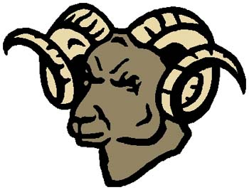 Ram head mascot color action sports sticker. Customize on line as you order. 2e14 ram head graphic decal