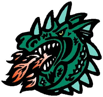 Dragon mascot sports decal. Customize on line. 2e19 dragon decal