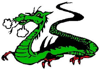 Dragon mascot color sports decal. Personalize on line. 2e20 dragon decal graphic