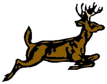 Running stag mascot sports decal. Customize on line. 2e4 deer running decal