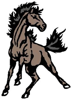 Mustang mascot sports decal. Customize on line. 2e6 wild mustang horse graphic decal
