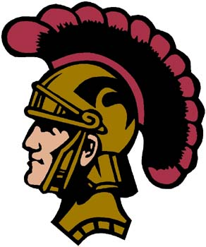 Trojan mascot color sports sticker. Customize on line. 2l8 trojan head mascot decal