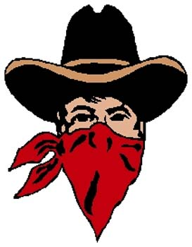 Outlaw mascot sports decal. Personalize on line. 2p5 outlaw vinyl decal