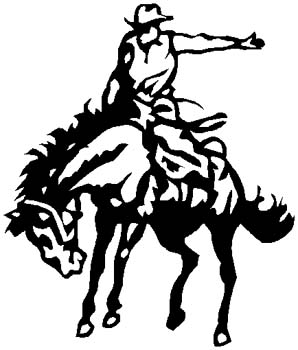 Bucking Bronco mascot sports decal. Customize on line. 2p6 rodeo cowboy vinyl decal
