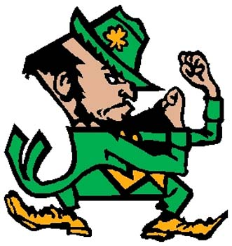 Fighting Irish mascot color sports decal. Customize on line. 2p8 fighting irish vinyl decal