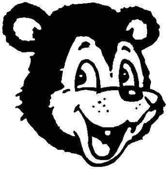 'Toon Bear mascot sports sticker. Personalize on line. 6l6 bear vinyl decal