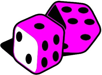 A pair of dice vinyl sticker. Customize on line.  00000344