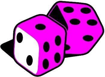A pair of dice vinyl sticker. Customize on line.  00000344
