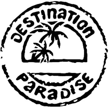 Destination Paradise lettering with Palm Tree decal customized online.  00000347