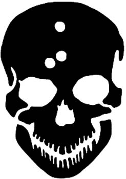 Skull silhouette with bullet holes in head vinyl decal customized online.  00000405