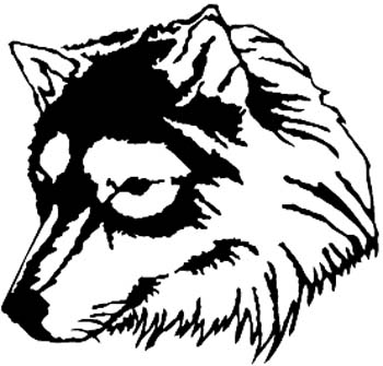 Wolf head vinyl decal customized online.  00000433