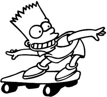 Bart Simpson on skateboard vinyl sticker. Customize on line. 00000918