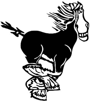 Comic running horse vinyl graphic sticker customized online. 00000941