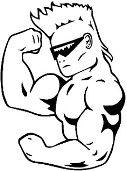 Cool muscle man vinyl sticker. Customize on line. 00000949