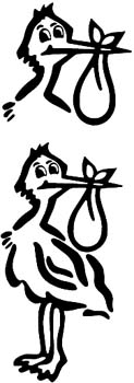 Two Storks vinyl decal customized online. 00000963