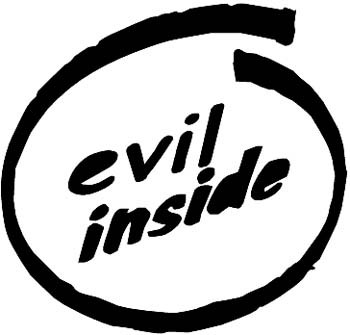'Evil Inside' lettering vinyl decal. Customize on line. 0022_a-evil_inside