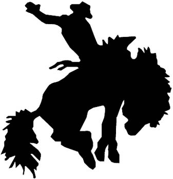 Bronc Buster silhouette vinyl sticker. Personalize on line. 0142_Bronco_rider