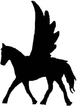 Pegasus side view in silhouette vinyl decal. Customize on line. 0250_Pegasus1