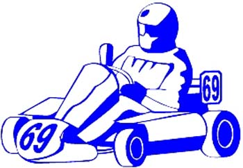 Go Cart racer vinyl decal customized online.  1004