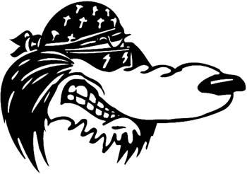 Biker wolf vinyl sticker customize on line.  1b - wolf decal