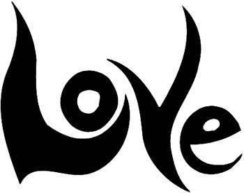 'Love' lettering vinyl decal customize on line.  2b