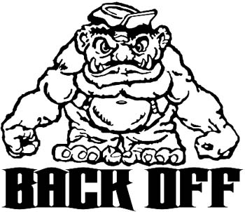 'Back Off' lettering with monster vinyl sticker customized online.  BackOff