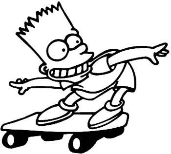 Bart skateboarding vinyl sticker. Customize on line. Bart-01