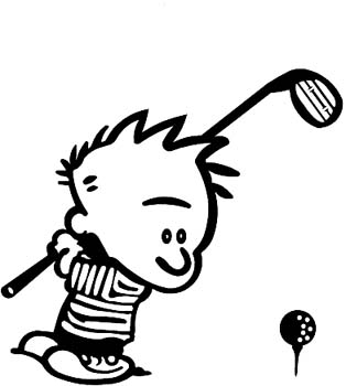 Calvin playing Golf vinyl sticker customized online. CalvinGolf