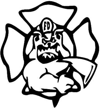 Bulldog fire fighter vinyl sticker. Personalize on line. FireDog vinyl sticker. Customize on line -01