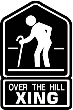 Over the hill Xing vinyl decal customized online.  Overhill